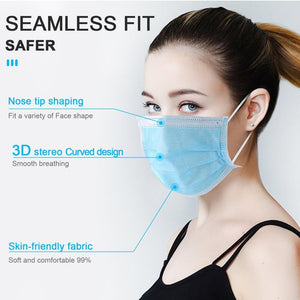 50/40/30/20/10pcs Disposable Mask Anti-dust Safe Breathable Mouth Mask Kids Adult Ear loop Face Filter Masks respirator Blue