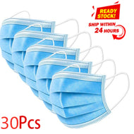 30pcs/pack Non Woven Disposable Face Respirator Mask 3 Layer Earloop Activated Carbon Anti-Dust proof Mouth Mask