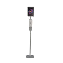 Load image into Gallery viewer, touchless free automatic hand hygiene sanitizer liquid soap dispenser floor standing with a stand advertising