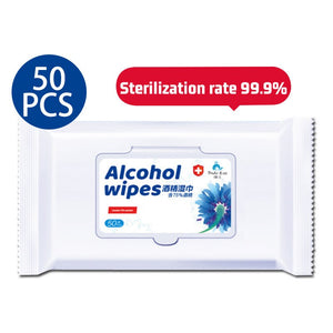 50pcs 75% Alcohol Wipes Disinfection Antiseptic Sterilization Pads Portable Cleaning Tissue via epacket shipping