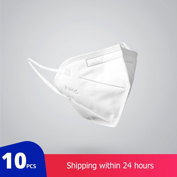 KN95 Breathable 3-Layer Face Masks 95% Filtration - Pack of 10