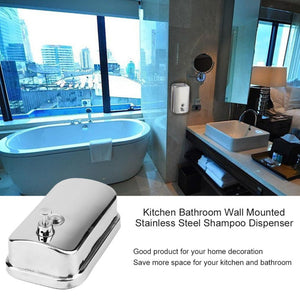 500/800/1000ML Bathroom Wall Mounted Stainless Steel Liquid Soap Dispenser Hand Shampoo Pump Sanitizer Shower Lotion Dispenser