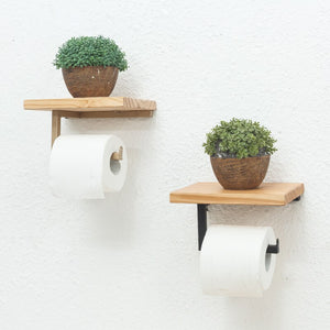 Paper Towel Holder Shelf Iron Pipe Wall Mount Paper Holder Rack Wood Shelf Bathroom Toilet Towel Tissue Paper Holder