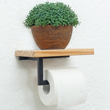 Load image into Gallery viewer, Paper Towel Holder Shelf Iron Pipe Wall Mount Paper Holder Rack Wood Shelf Bathroom Toilet Towel Tissue Paper Holder
