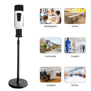 Black Hand Sanitizer Dispenser Stainless Steel Floor Stand Automatic Hand Sanitizer Dispenser Touchless Liquid Spray Dispenser