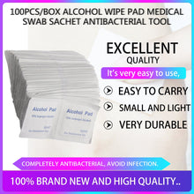 Load image into Gallery viewer, Professional 100Pcs Alcohol Wipe Pad Medical Swab Sachet Antibacterial Tool Cleanser 100% Top Good