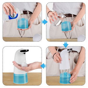 250ml Hand Soap Dispenser Infrared Sensing Automatic Portable Foam Liquid Soap Dispenser for Bathroom Kitchen Foam Tubes