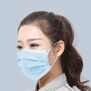 50Pcs 3 Layer Mouth Mask Safety Face Mouth Mask Anti-dust and anti-fog Anti-pollution Mask Elastic Ear Loop