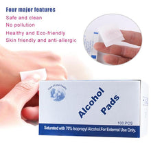 Load image into Gallery viewer, 100 Pcs Alcohol Wet Wipe Disposable Disinfection Prep Swap Pad Antiseptic Skin Cleaning Care Jewelry Mobile Phone Clean Wipe