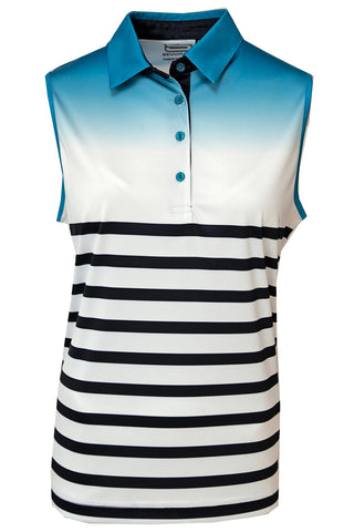 LADIES SLEEVELESS OMBRE STRIPE GOLF SHIRT