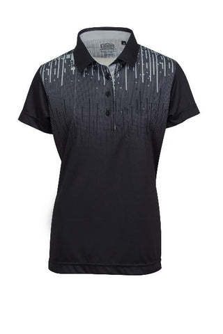 LADIES MATRIX PRINT DRY TECH PERFORMANCE GOLFE SHIRT
