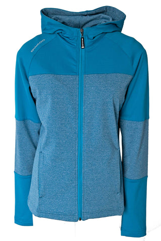 HOODED POLY SPANDEX ZIP THROUGH MELANGE JACKET