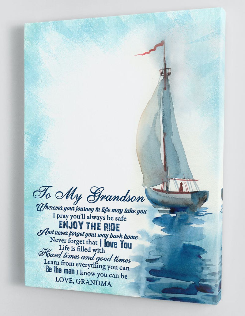 Gift for Grandson - From Grandma - Framed Canvas GMS090