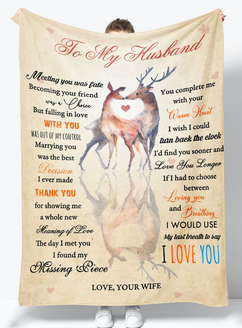 To My Husband - From Wife - Fleece Blanket Gift BWH011