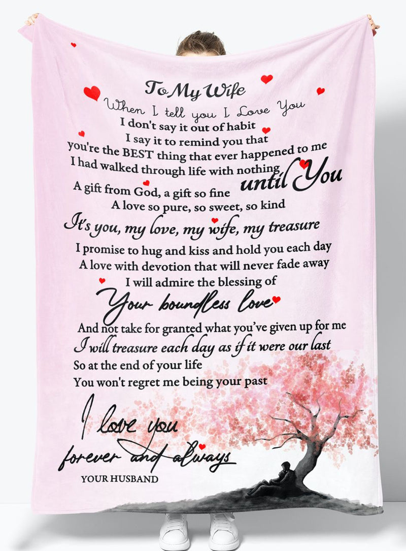 To My Wife - From Husband - Fleece Blanket Gift BHW001