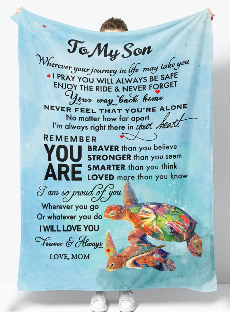 Gift For Son - From Mom - Fleece Blanket BMS048