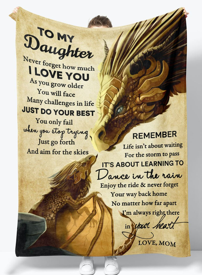 To My Daughter - From Mom - Fleece Blanket Gift BMD047