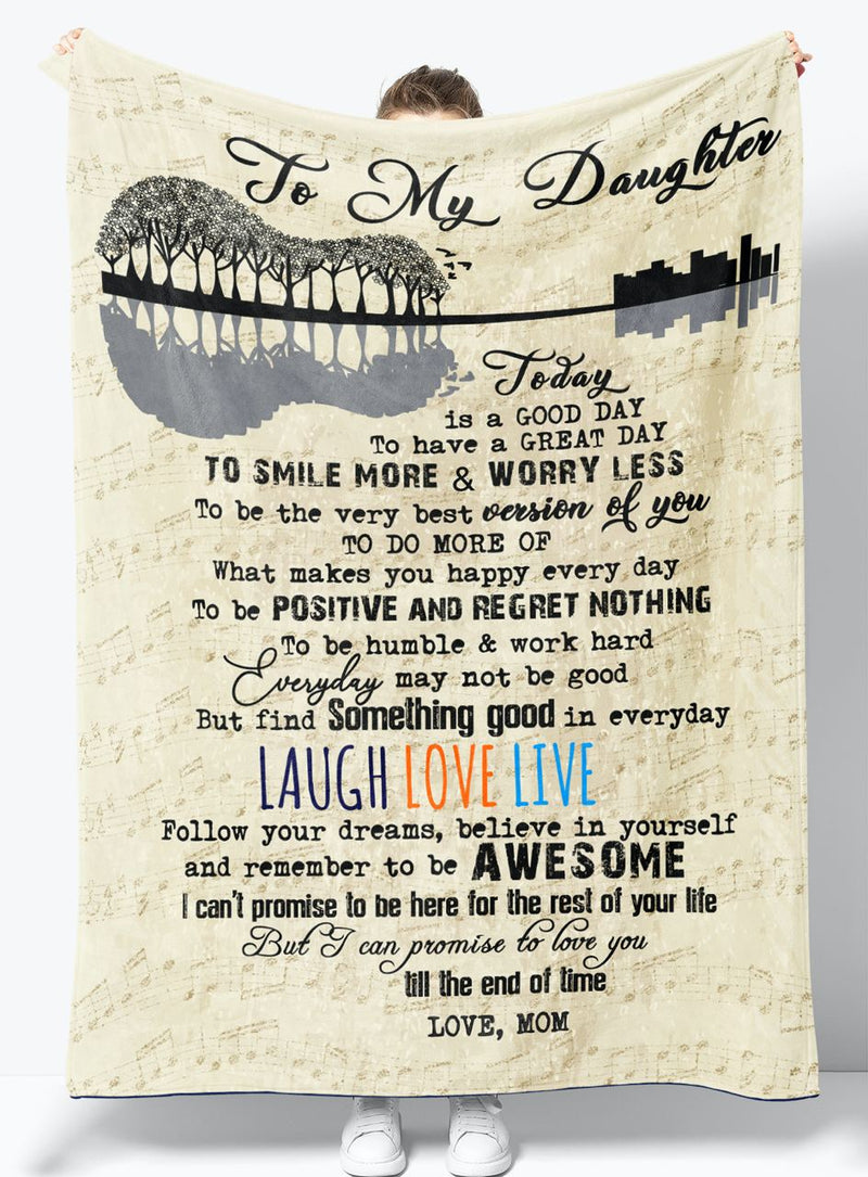 To My Daughter - From Mom - Fleece Blanket Gift BMD065