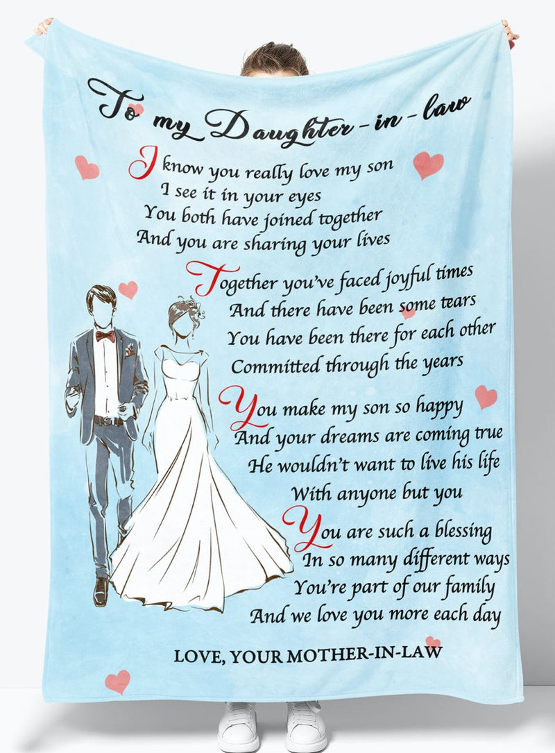 To My Daughter-in-law - From Mother-in-law - Fleece Blanket Gift BMD091