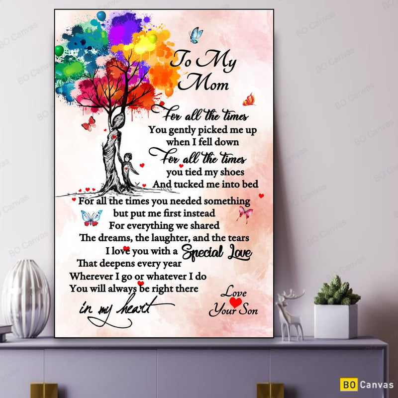 To My Mom - From Son - Mother's Day Framed Canvas Gift SM002
