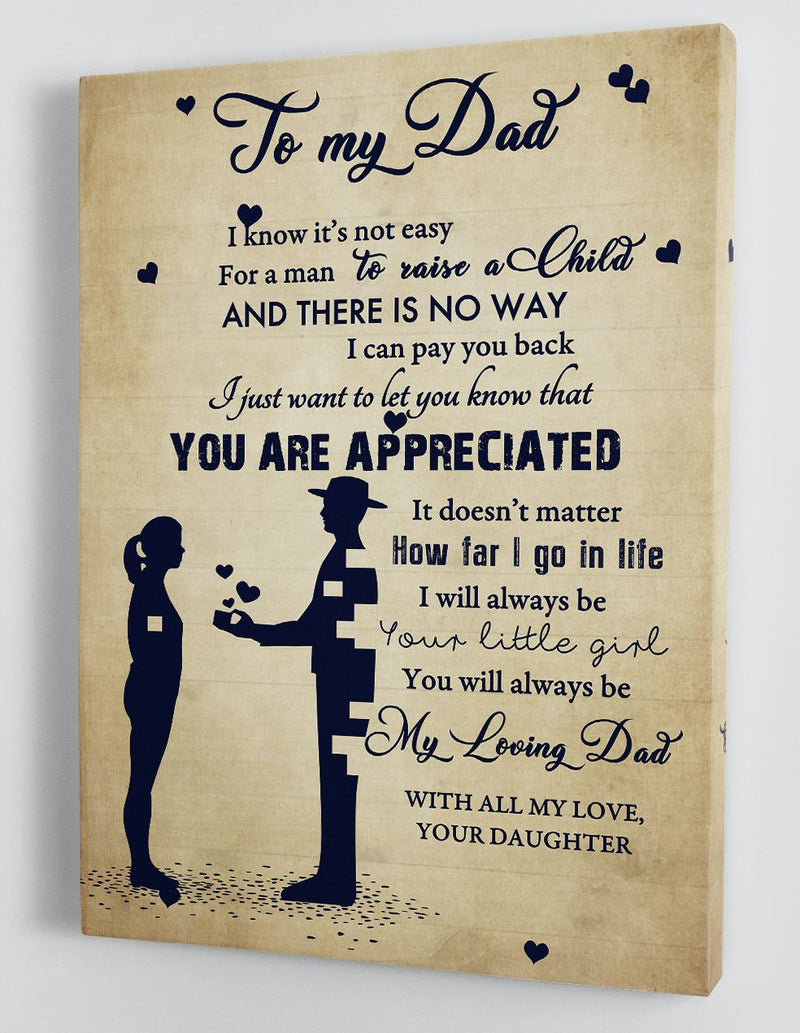 To My Dad - From Daughter - Framed Canvas Gift DDA003