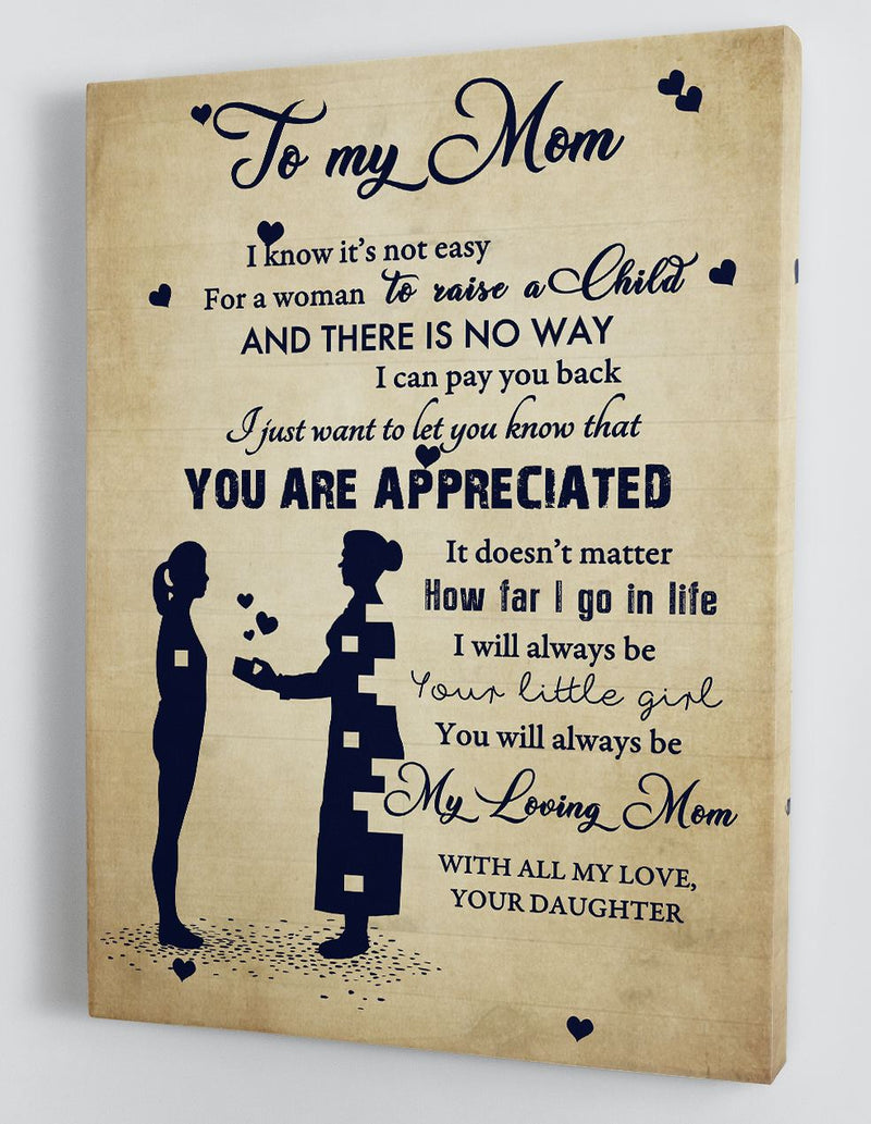 To My Mom - From Daughter - Framed Canvas Gift DM005