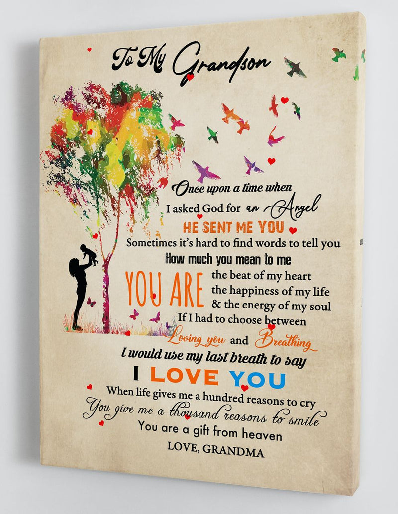 Gift For Grandson - From Grandma - Framed Canvas GMS071