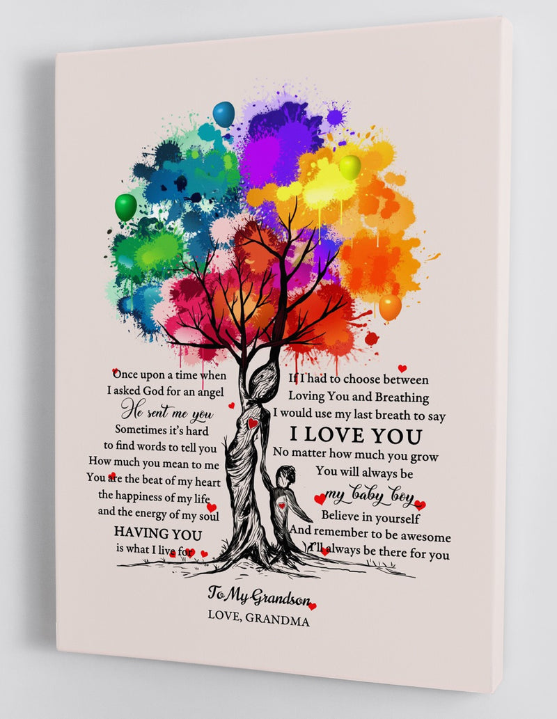 To My Grandson - From Grandma - Framed Canvas Gift GMS033