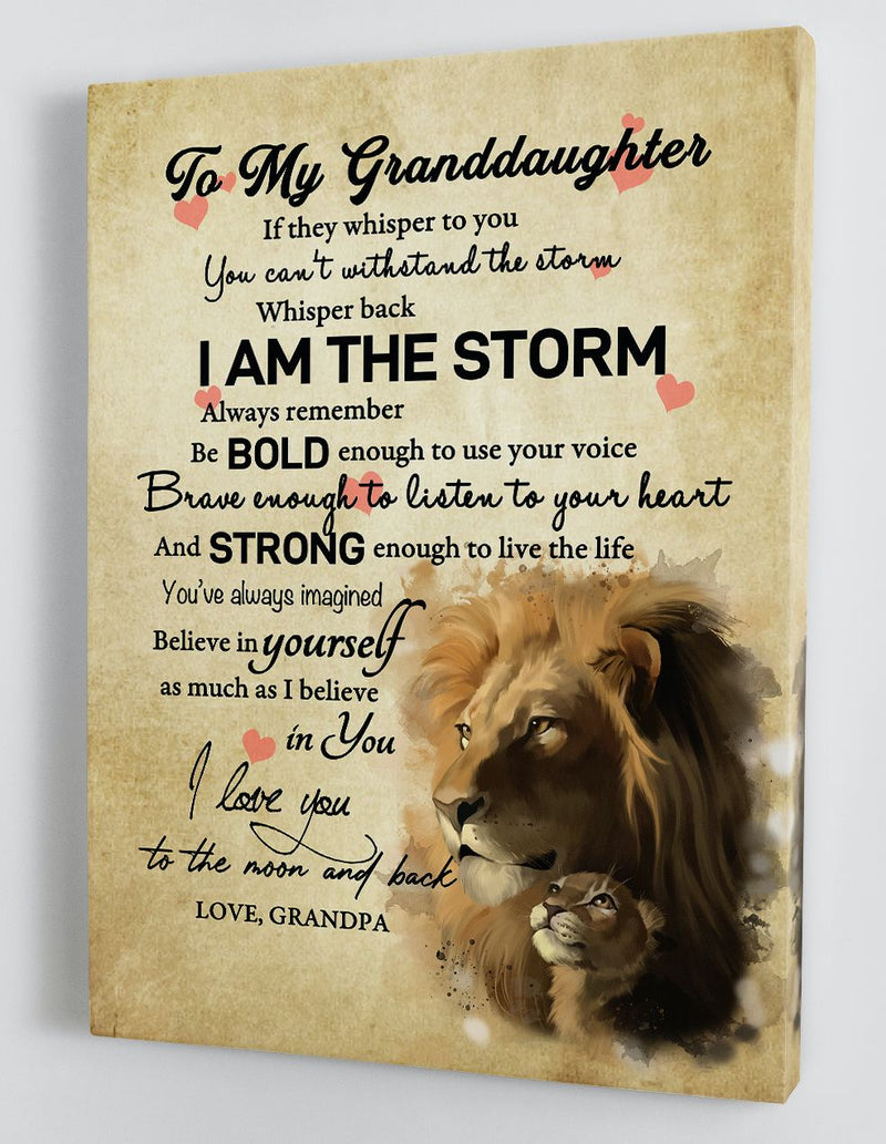 To My Granddaughter - From Grandpa - Framed Canvas Gift GPD006
