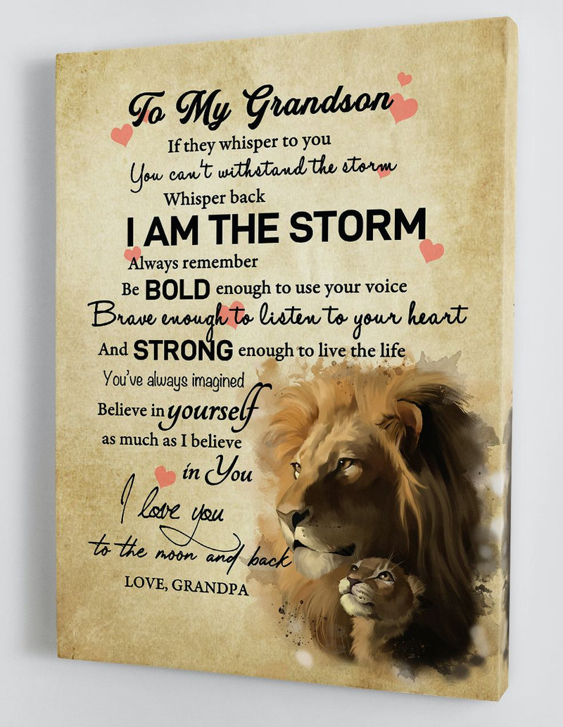 To My Grandson - From Grandpa - Framed Canvas Gift GPS008