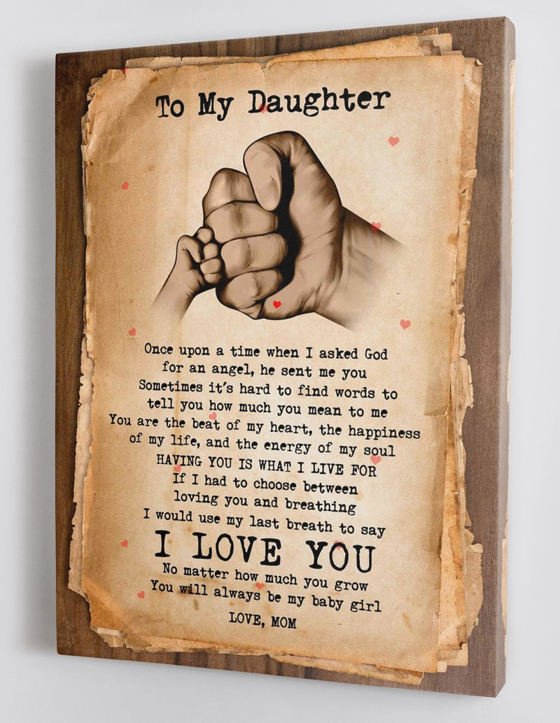 To My Daughter - From Mom - Framed Canvas Gift MD036