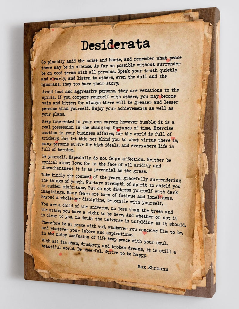 Desiderata - A Life Changing Poem for Hard Times - Framed Canvas
