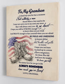 To My Grandson - From Grandma - Military Framed Canvas Gift GMS025