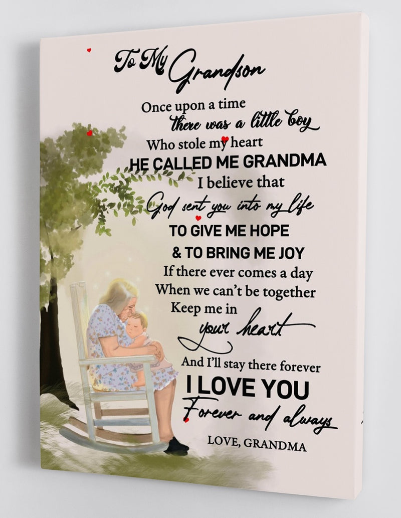 To My Grandson - From Grandma - Framed Canvas Gift GMS020