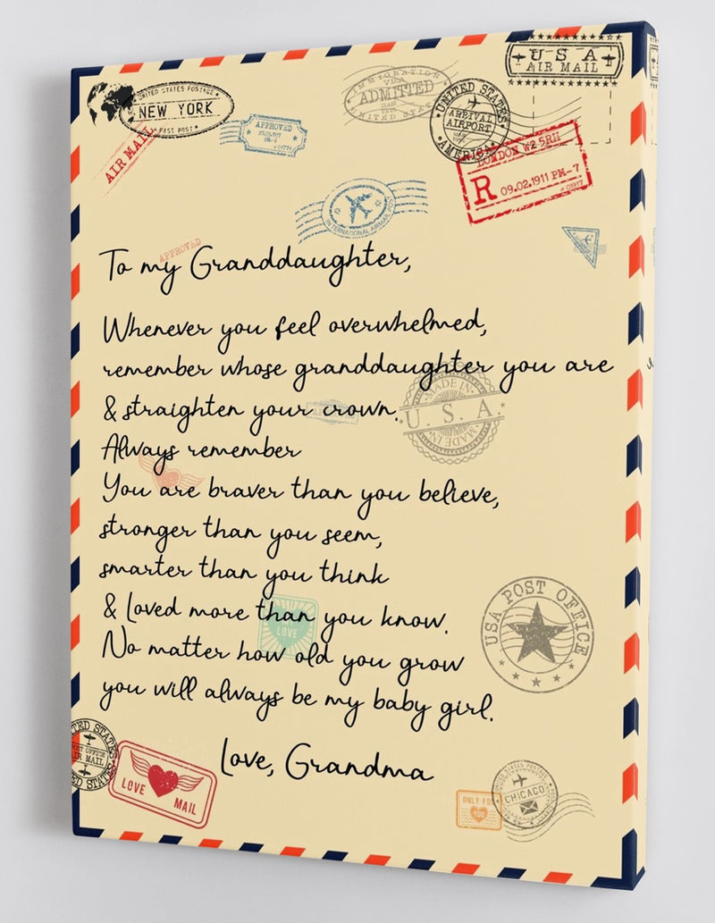 To My Granddaughter - From Grandma - Framed Canvas Gift GMD041