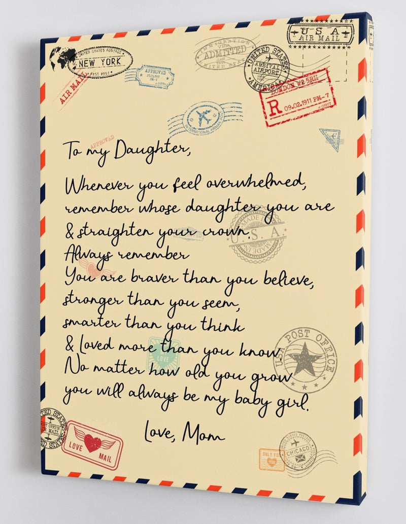 To My Daughter - From Mom - Framed Canvas Gift MD034