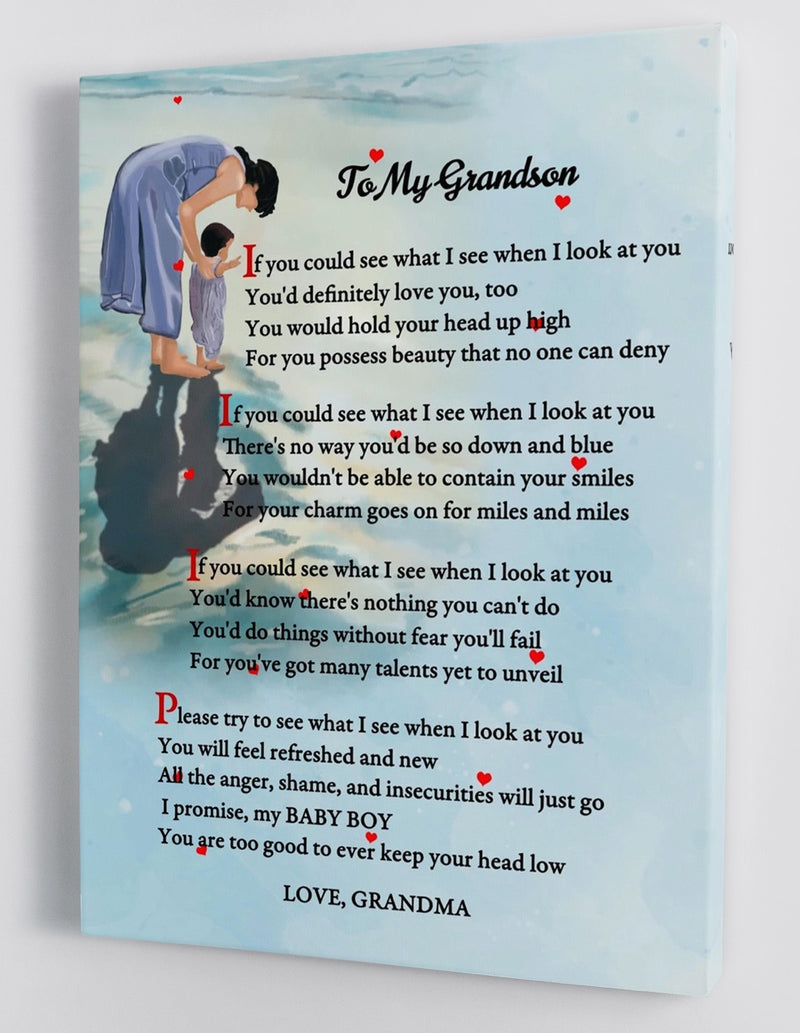 To My Grandson - From Grandma - Framed Canvas Gift GMS024