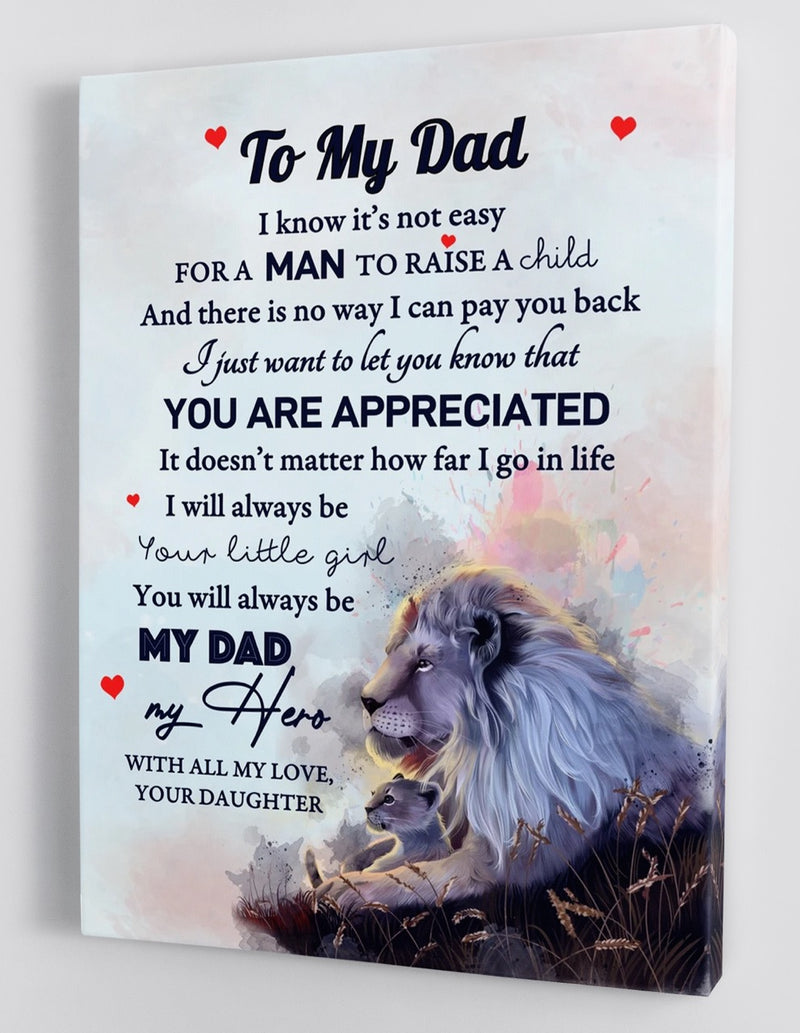 To My Dad - From Daughter - Framed Canvas Gift DDA002