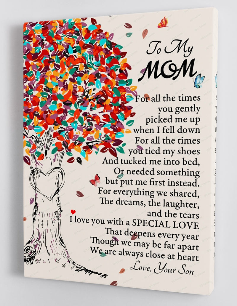 To My Mom - From Son - Long Distance Framed Canvas Gift SM001