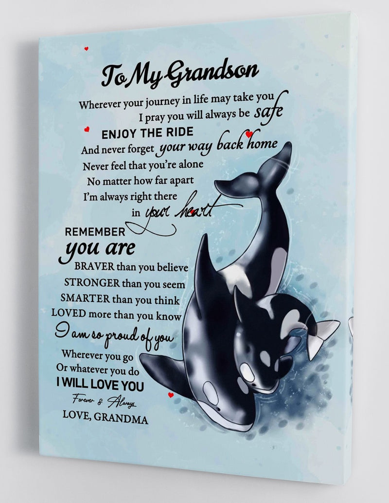 To My Grandson - From Grandma - Framed Canvas Gift GMS031