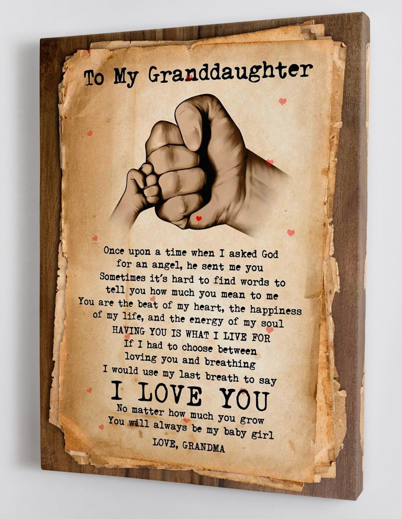 To My Granddaughter - From Grandma - Framed Canvas Gift GMD042