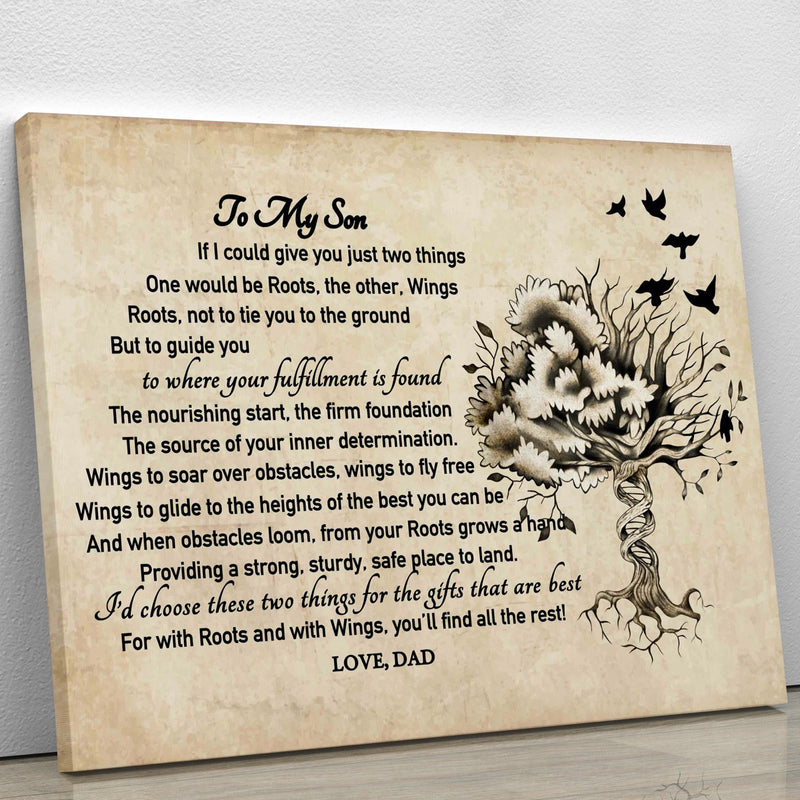 To My Son - From Dad - Roots & Wings Framed Canvas Gift DS002