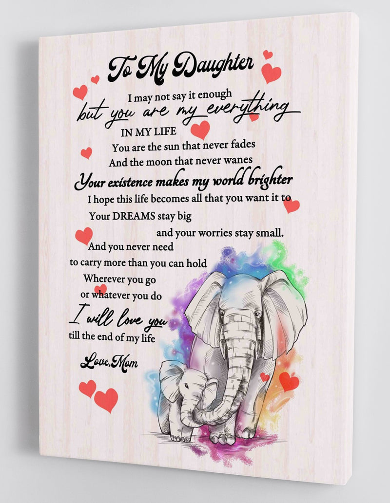 To My Daughter - From Mom - Framed Canvas Gift MD012
