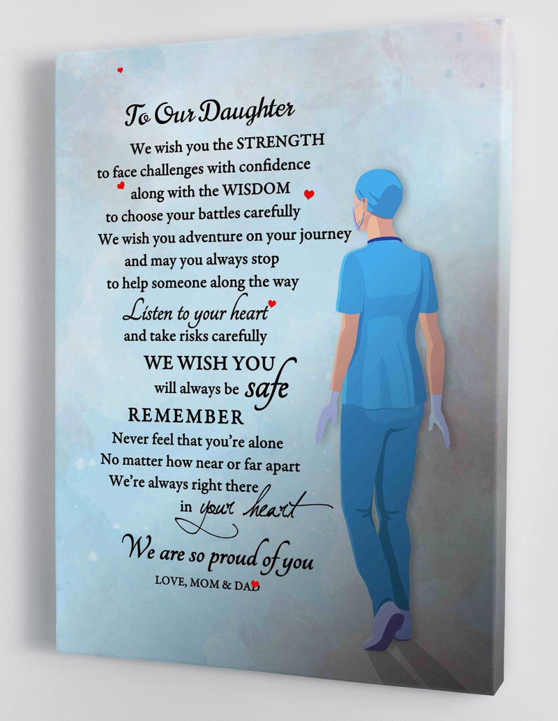 To Our Daughter - From Mom and Dad- Nurse Framed Canvas Gift MD014