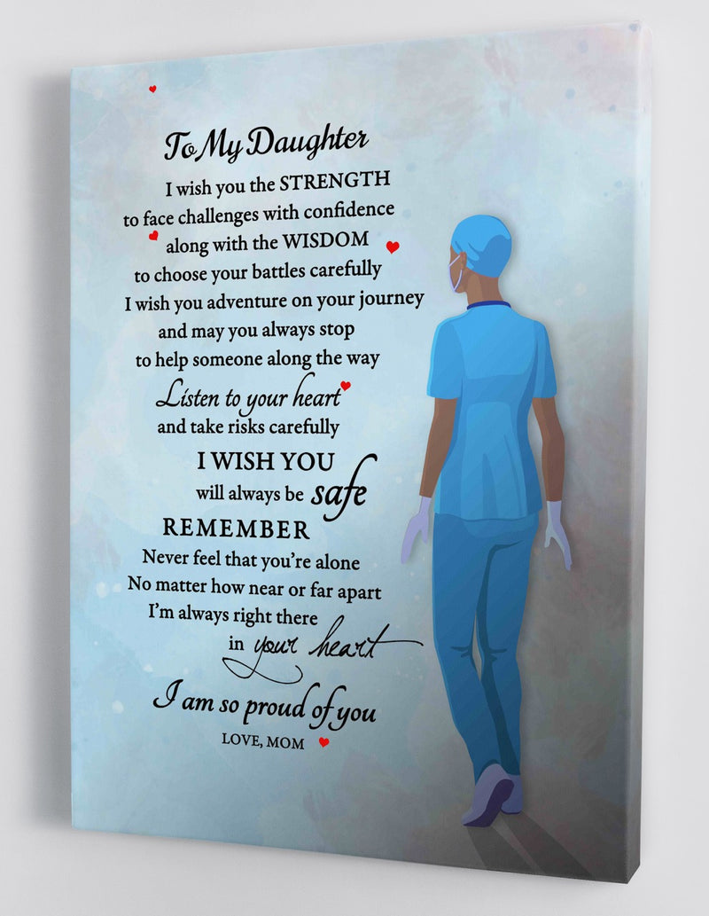 To My Daughter - From Mom (African American Version) - Nurse Framed Canvas Gift MD004