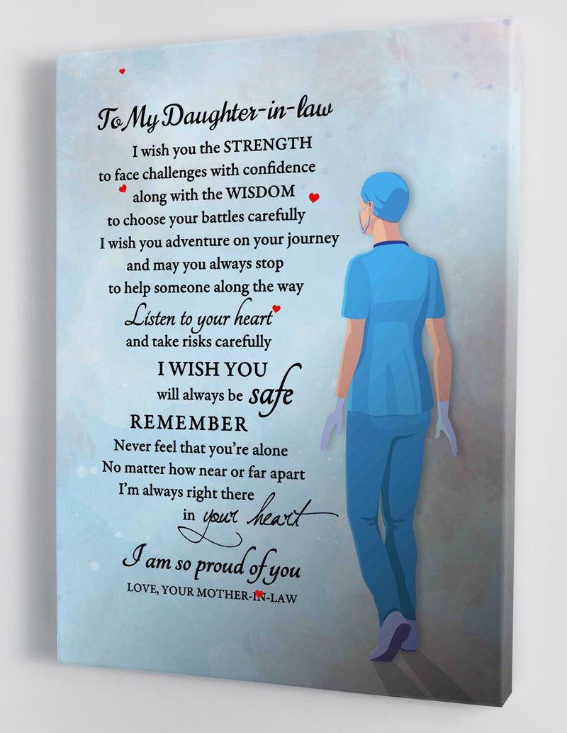 To My Daughter In Law - From Mother In Law - Nurse Framed Canvas Gift MD006
