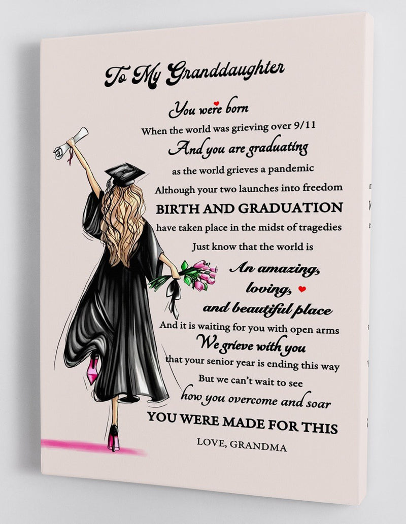To My Granddaughter Senior 2020 - From Grandma - Graduation Framed Canvas Gift GMD011