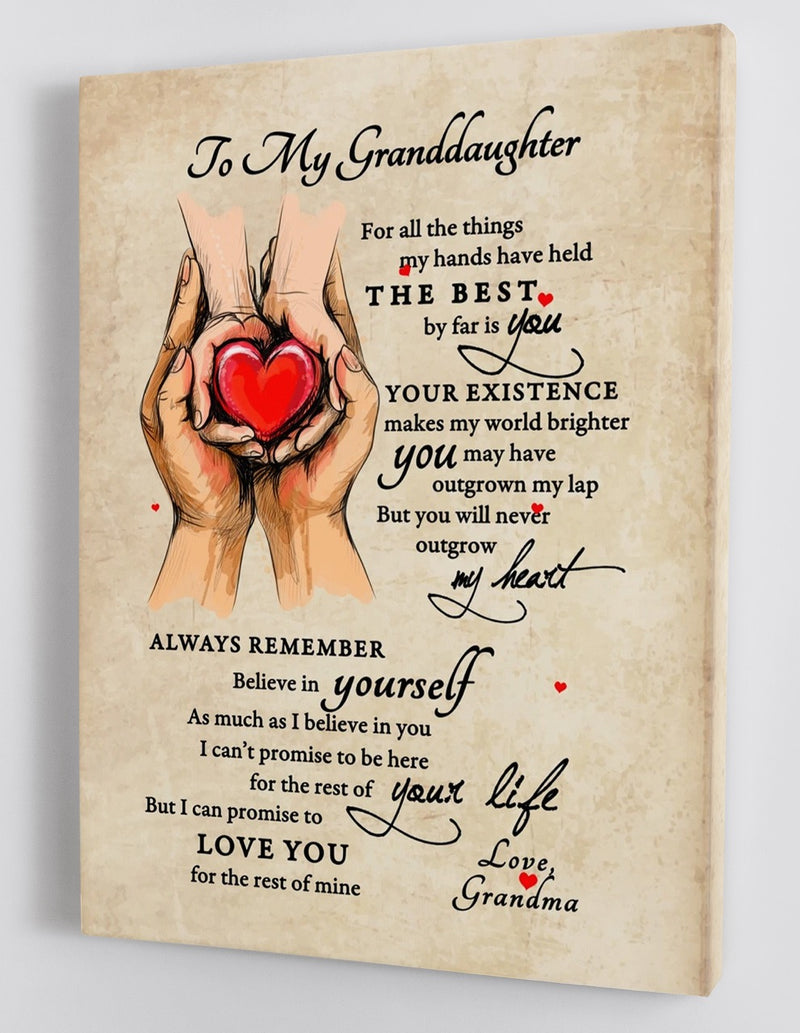 To My Granddaughter - From Grandma - Framed Canvas Gift GMD027