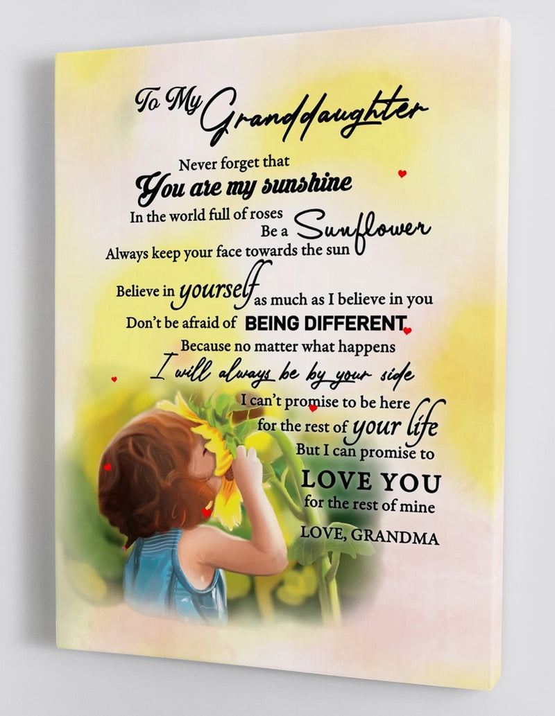 To My Granddaughter - From Grandma - Sunflower Framed Canvas Gift GMD030