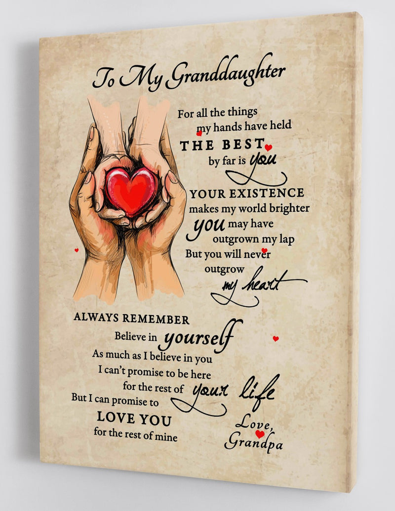 To My Granddaughter - From Grandpa - Hard Time Framed Canvas Gift GPD002